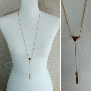 J. Crew Long Gold Y Necklace